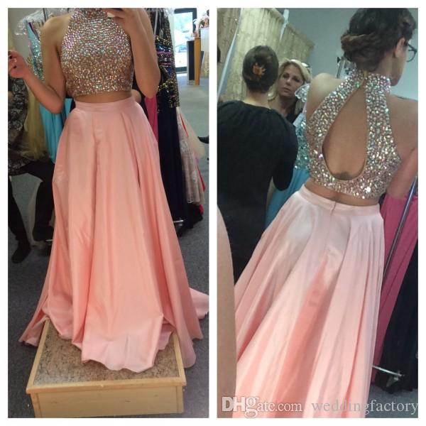 Hot Sale Two Pieces Dresses Blush Pink Prom Dress ful Crystals Crop Top with Cut Out Open Back High Neck Halter Cheap