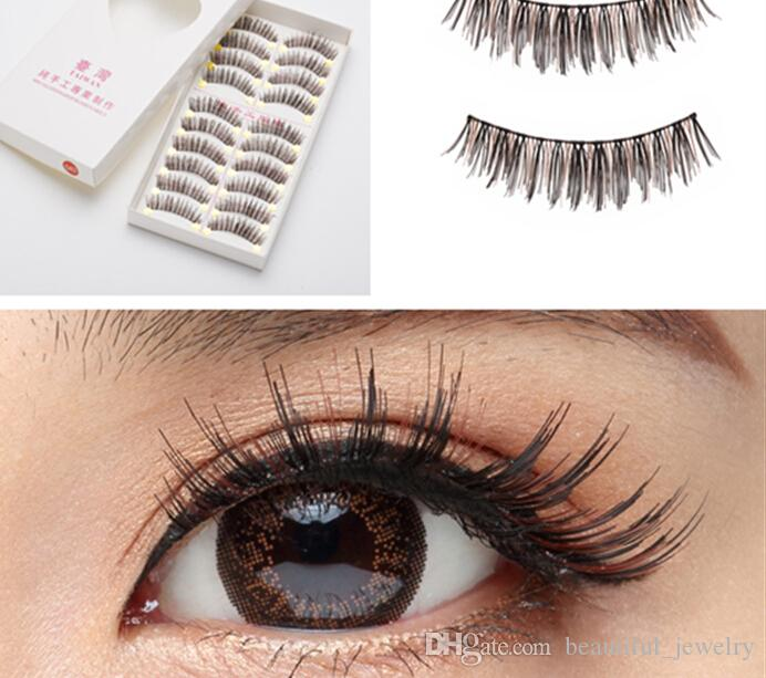 Taiwan Pure Manual False Eyelash 042 Brown Black Cross Style False