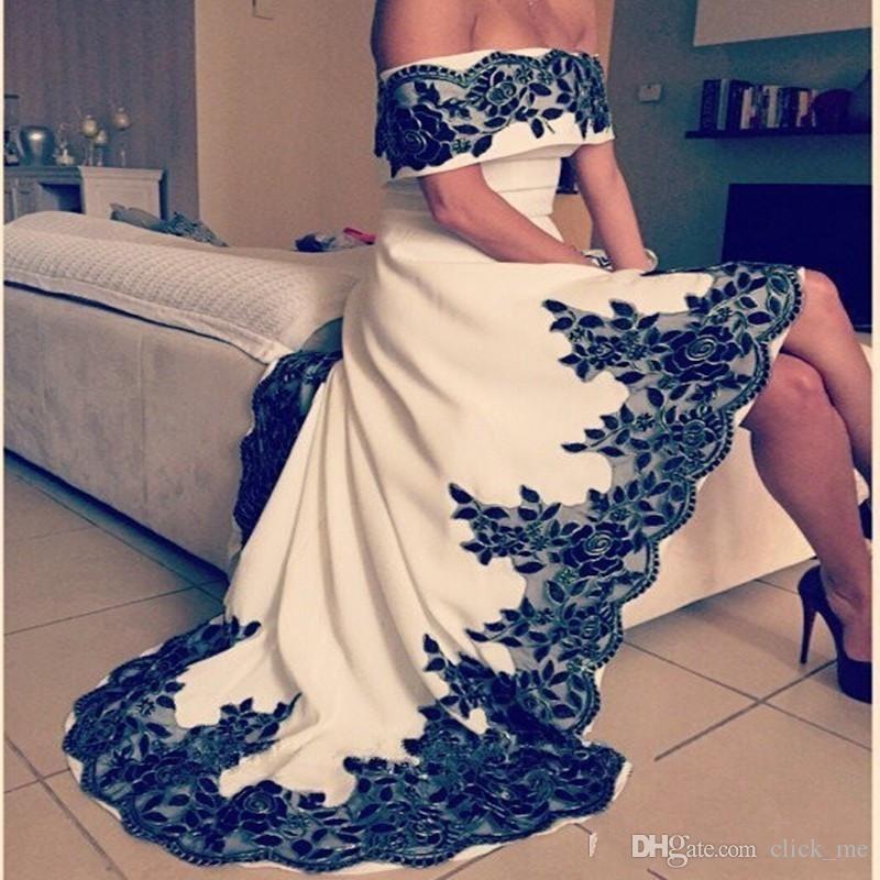 Vestidos de fiesta de hombro negro blanco alto apliques de encaje barato Vestido de fiesta barato cremallera Volver vestidos de cóctel de regreso a casa de las mujeres por encargo