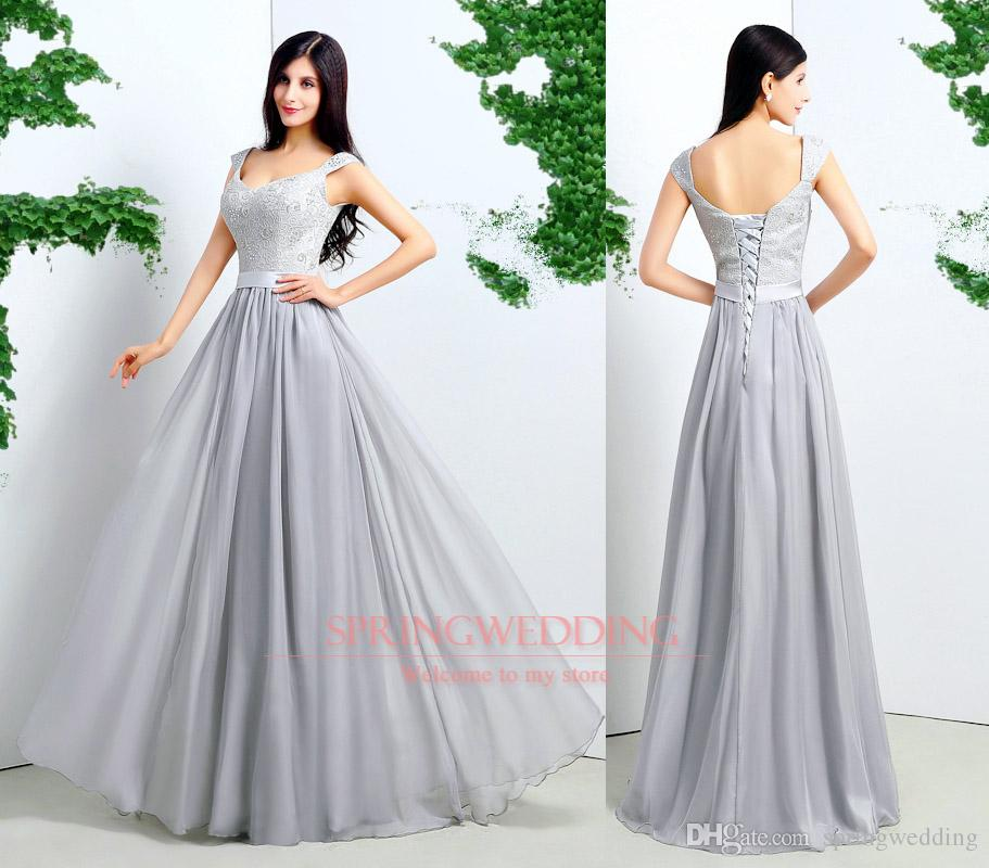 2015 Real Samples Cap Sleeves A Line Prom Dresses Long Grey
