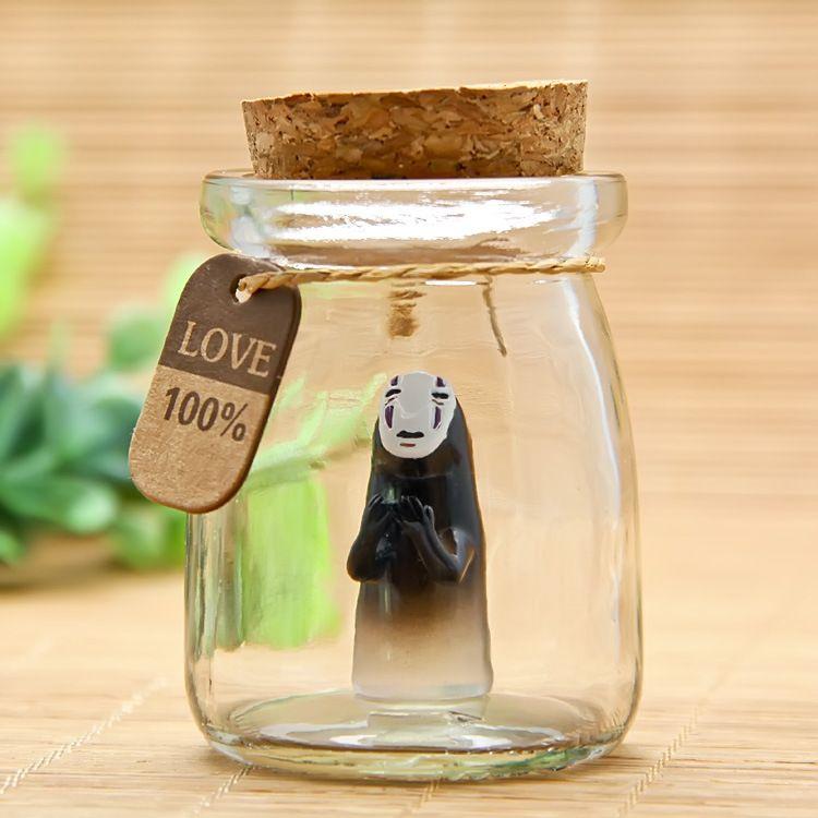 Spirited Away No Face Man DIY Doll Japan animiation Action Figure Kids toys gift Miniature Model Doll Glass Wishing bottle