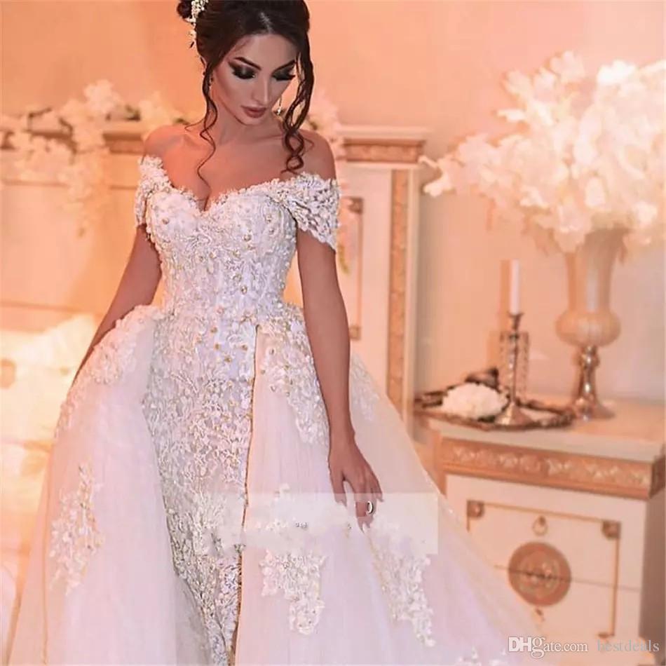 luxury Arabic Wedding Dresses with Detachable Skirt Appliques Beaded Pearls Dubai Wedding Dress Plus Size Bridal Gowns Robe de mariee