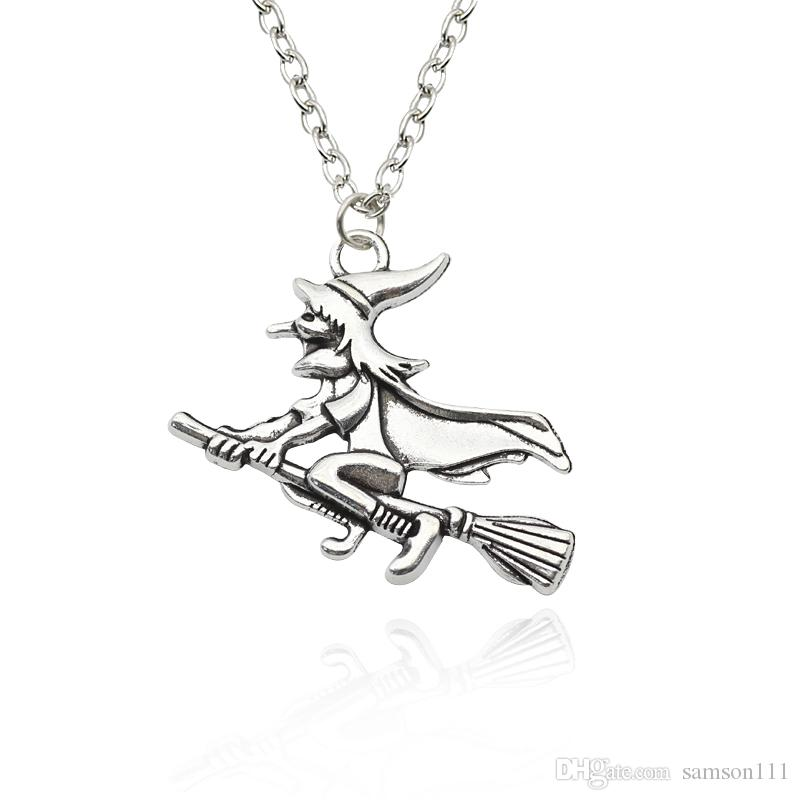 Wholesale the witch sorceress ridding broom charm necklace unisex wholesale the witch sorceress ridding broom charm necklace unisex punk vintage halloween witch broom necklaces pendants colar wholesale name pendant aloadofball Gallery