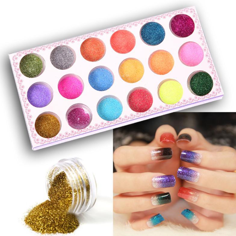 Nail Art Glitter Powder Dust Decoration Kit For Acrylic Tips Uv Gel ...