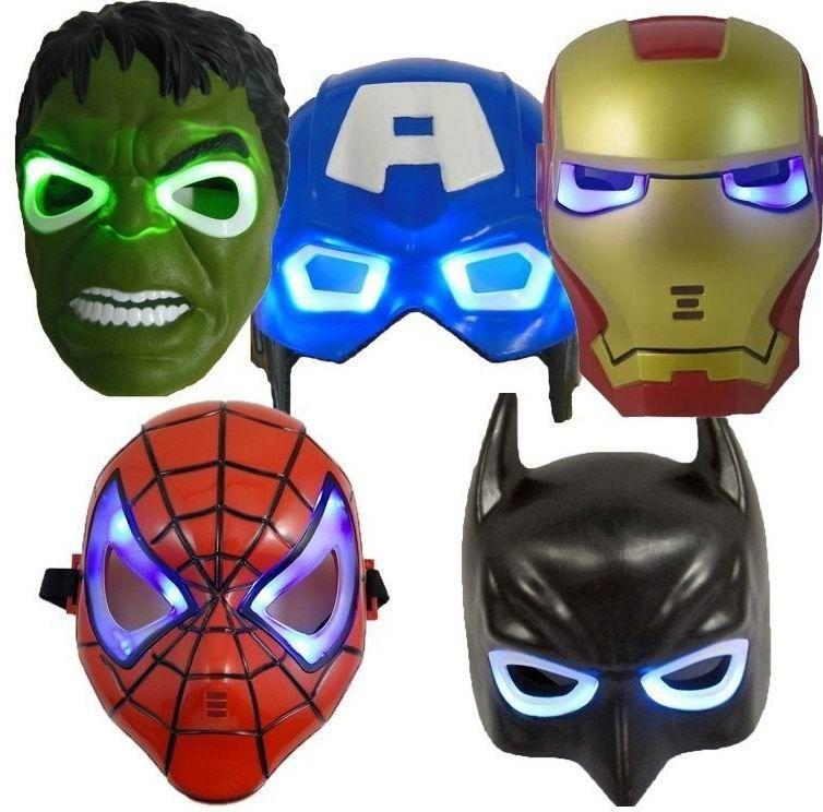 b592008b837 2019 The Avengers Masks The Hulk Captain America Batman Spiderman Ironman  LED Glowing Party Mask Kids Halloween Gifts From Rino