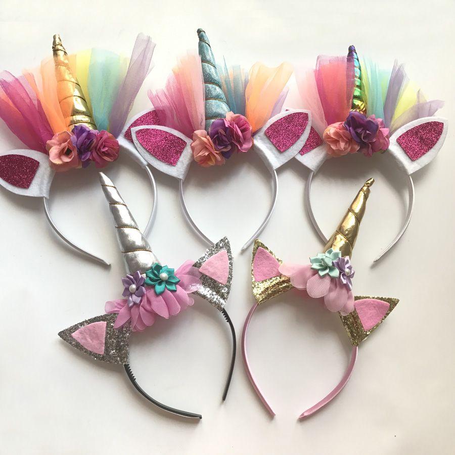Fashion Glitter Unicorn Horns Headbands For Girls And Kids 2017 Felt