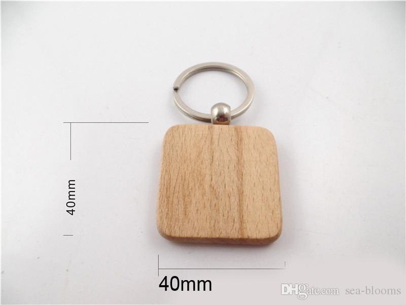 Einfache Stil Holz Schlüsselanhänger Schlüsselanhänger DIY Holz Runde Quadrat Herz Oval Rechteck Form Schlüsselanhänger Handgemachte Schlüsselbund Geschenk D274L