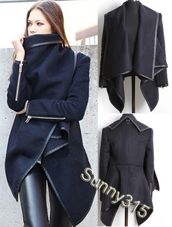 2018 European Elegant Women Zippered Long Sleeve Panelled Leather ...