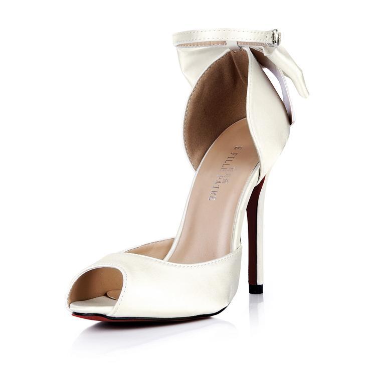 2015 vestidos de novia baratos zapatos de novia correa de hebilla de marfil talones delgados altos arco peep toe moda talones finos baratos mujeres modestas sandalias