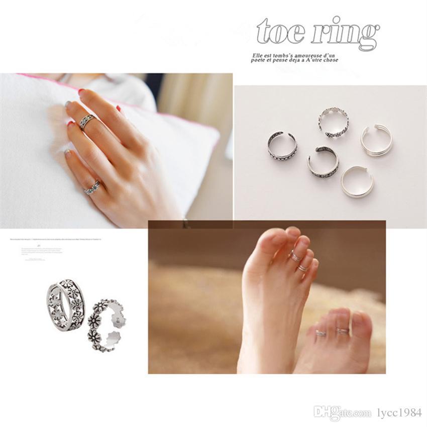 Qualitäts-Weinlese-Retro- antike silberne Zehe-Ring-Legierungs-Blume geschnitzte justierbarer Finger Ring Europa-Ring-Frauen Schmucksachen Verschiffen frei