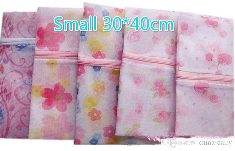 Liberi la nave piccoli 30 * 40cm fiori stampati reggiseno vestiti sacchetto della lavanderia lavatrice maglia di nylon maglia cerniera biancheria cerniera
