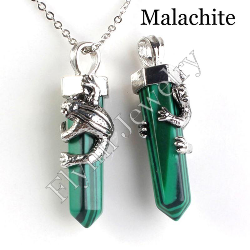 Amethyst Malachite Natural Stone Hexagon Crystal Pillar Animal Frog Reiki Pendant Charms Wicca Witch Amulet Jewelry