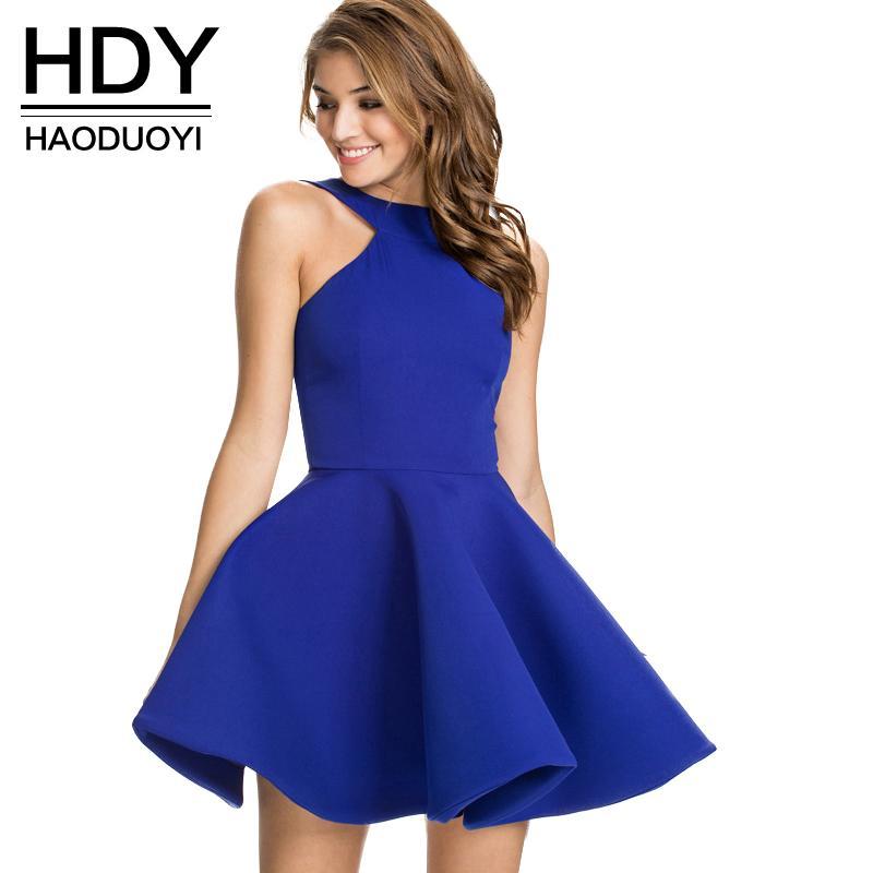 95f4755eaa8 HDY Slim Elegant Halter Dress Off Shoulder Dress Ball Gown Women ...
