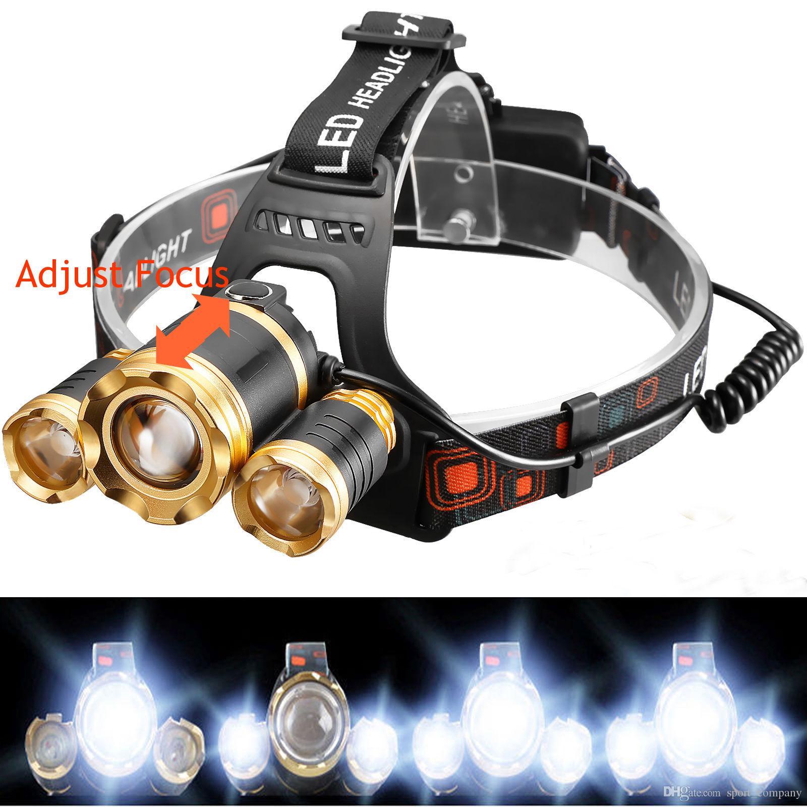 12000 Lumen Jagdscheinwerfer 3x XML T6 LED Scheinwerfer Stirnlampe Lampe Camping Zoom Scheinwerfer Taschenlampe 18650 Batterie + Ladegerät + Autoladegerät