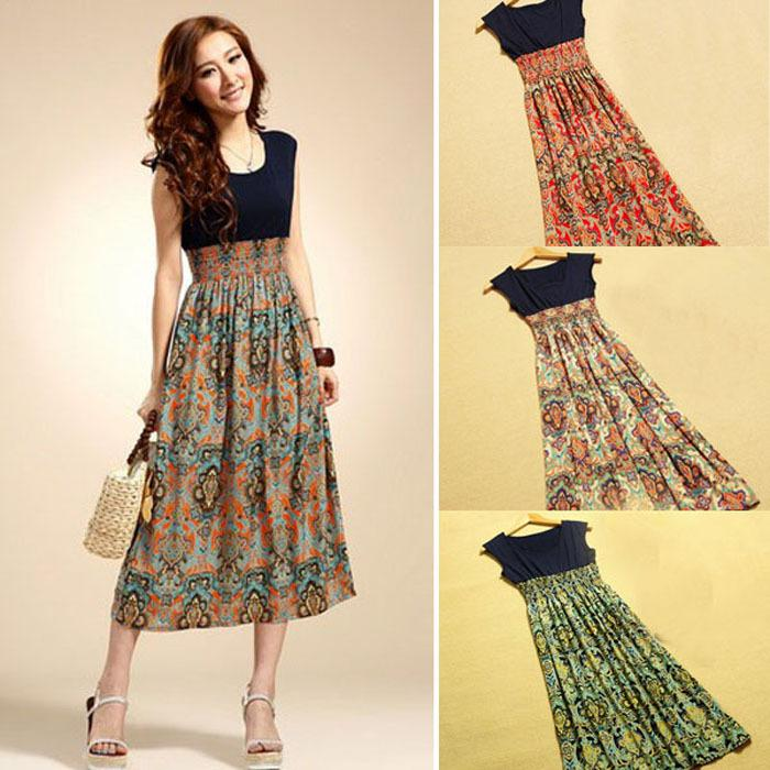 New Casual Dress 2015 New Hot Selling Women Flower Print Dress ...