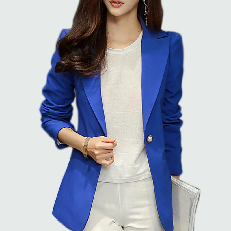 Chaqueta de las señoras 2017 Blaser de manga larga chaqueta de traje de mujer Office Lady mujer Blazer femenino Femme azul real / negro Blazer