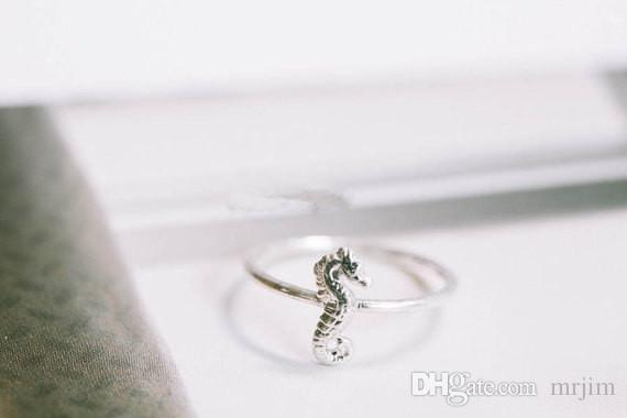 Gold der einfachen Art und Weise 18 Karat überzogene nette Tiere Hippocampal Ring für Verschiffengroßhandelsfeiertagsgeschenke der Frauen freie