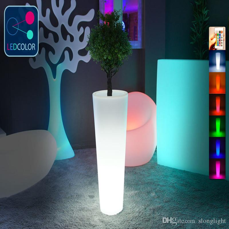 Outdoor waterproof Remote control Color changing big luminous Flower Power LED Plant Pot for multicolored illuminated led glowing furniture
