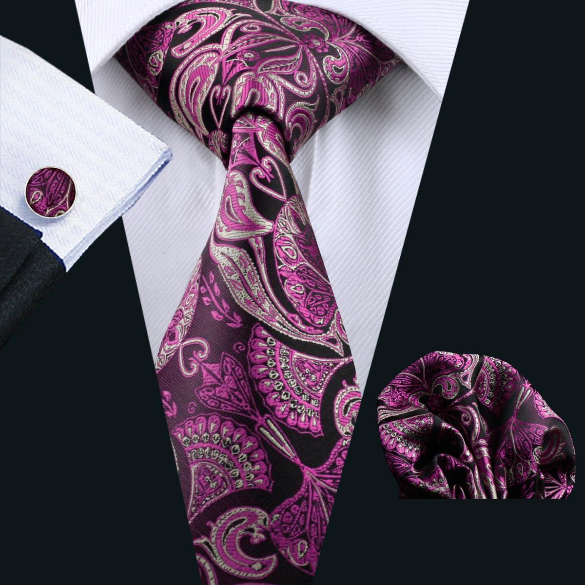 e48ef04e7ac4b 2019 Purple Tie For Men Neck Tie Set Pocket Square Cufflinks ...