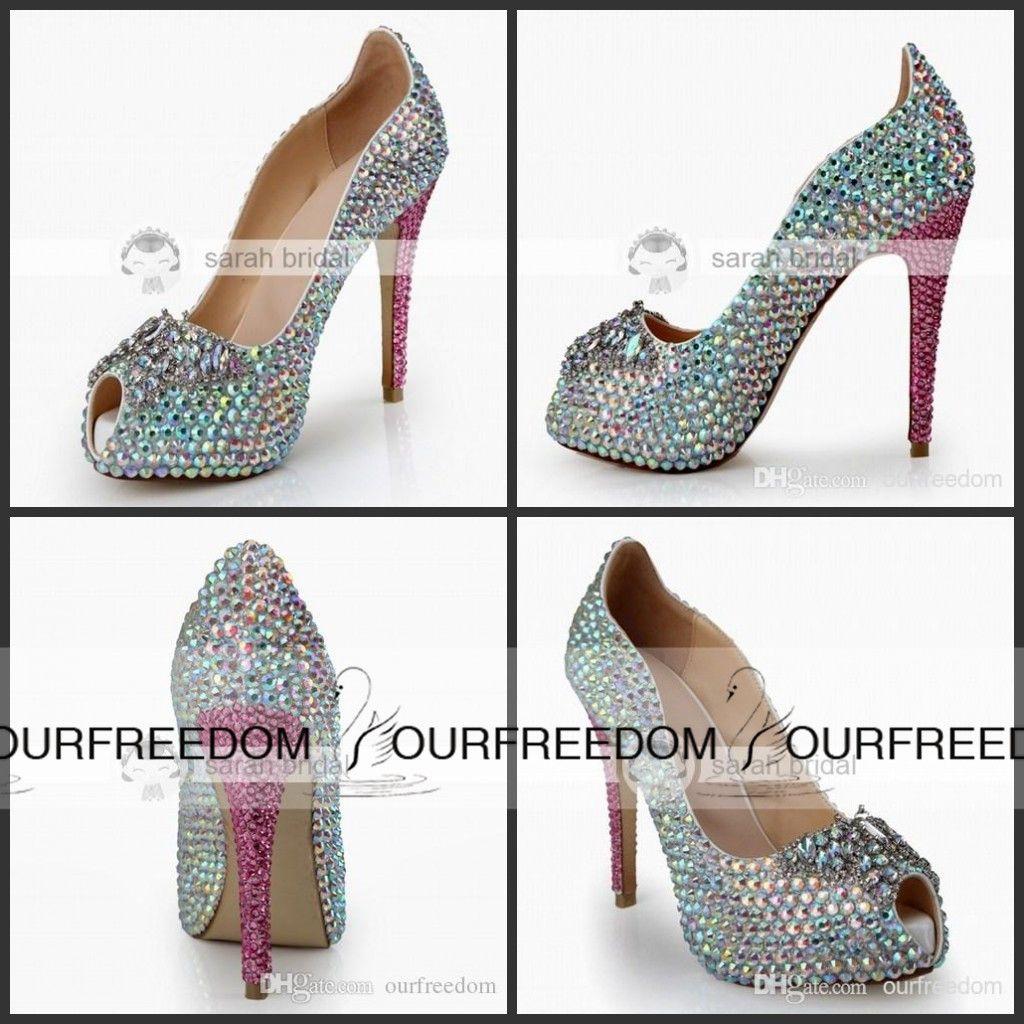 d88949432626a1 2015 New Crystal Wedding Shoes With Rhinestone Peep Toe Platform ...