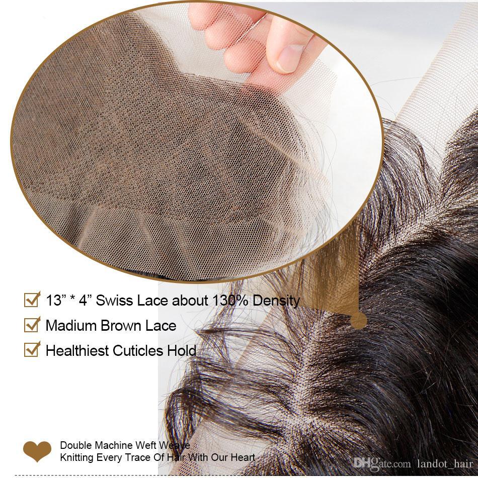 레이스 정면 폐쇄 8A 말레이지아 인디언 페루 캄보디아 브라질 버진 인간의 머리카락 웨이브 클로저가 귀에 귀에 귀가 13x4 표백