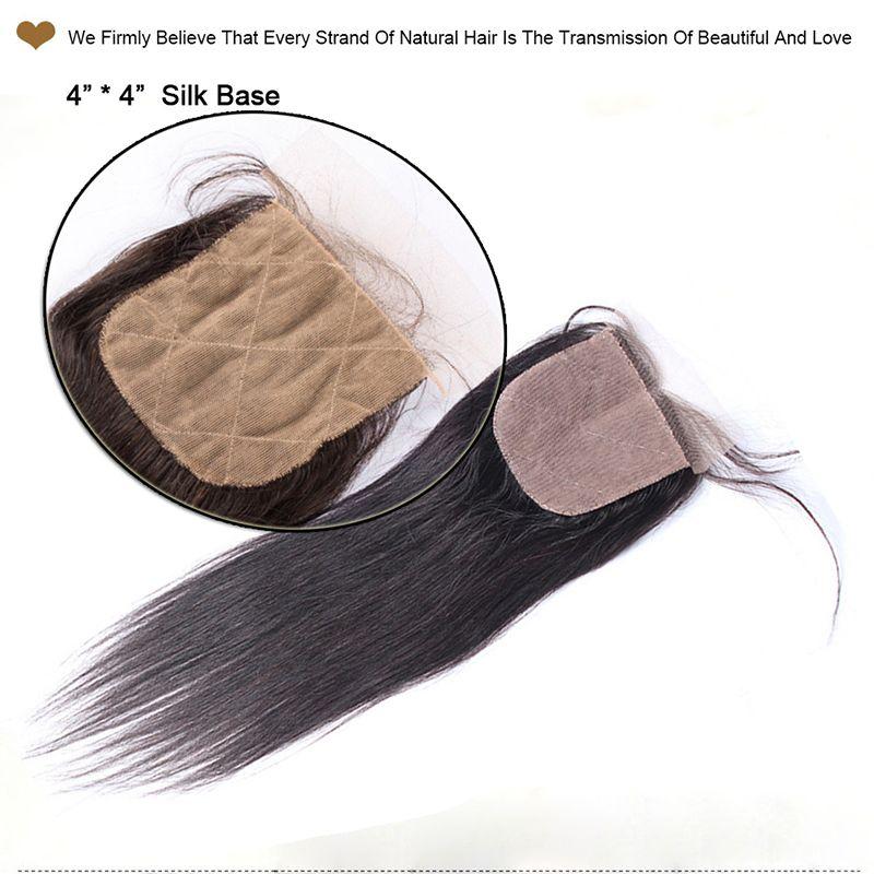Fermetures de base droites brésiliennes en soie Malaisienne péruvienne indienne cambodgienne vierge de fermeture de dentelle de cheveux humains Free / Middle / 3 Way Partures
