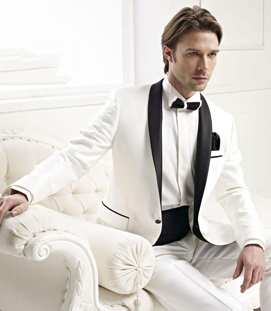 2015 Custom Formal White Groom Groosmen Men Wedding Suits With ...