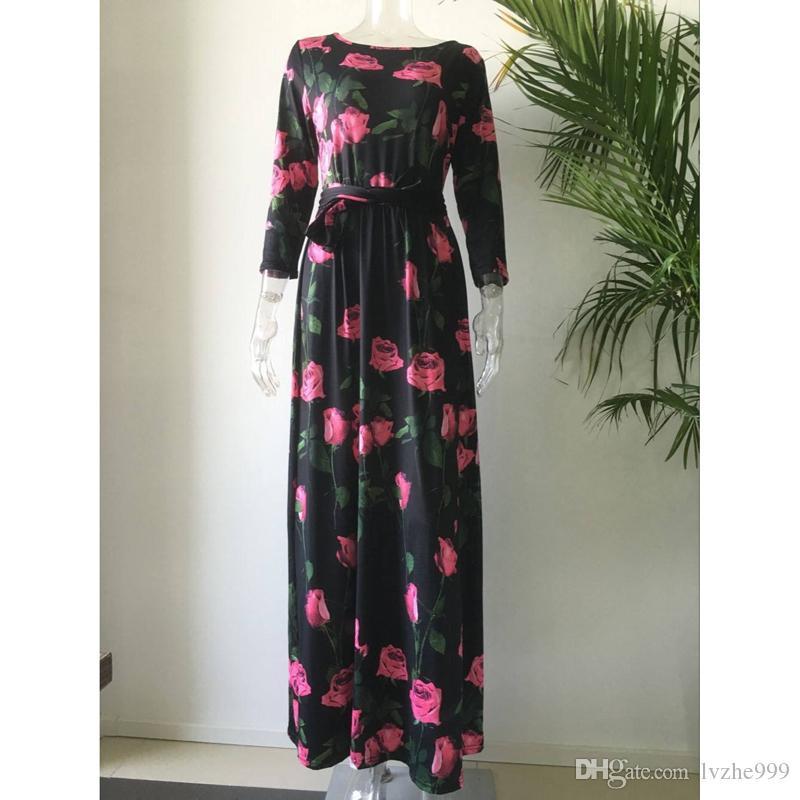 Nouveau Mode Femmes À Manches Longues Floral Imprimé Longue Maxi Party Cocktail Dress 1 Coulor 6 Taille