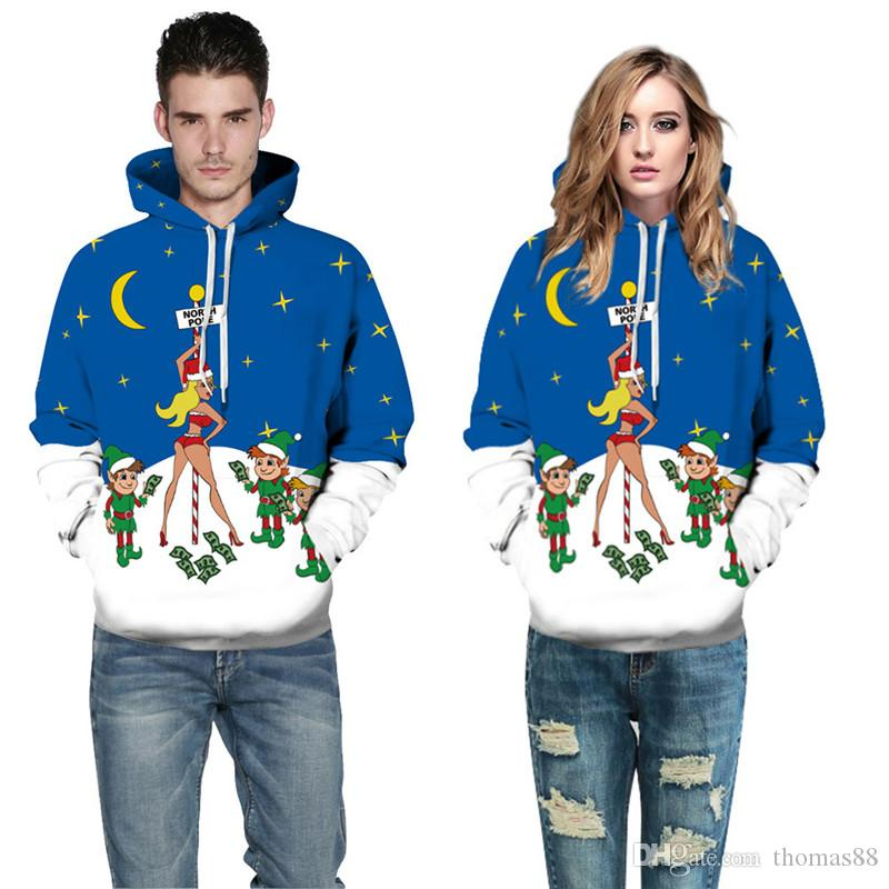 Wholesale Christmas Hooded Sweatshirts Men Women Hoodies with pocket 3d Printed Blue Sexy Girl Little Man Hip Hop Pullovers