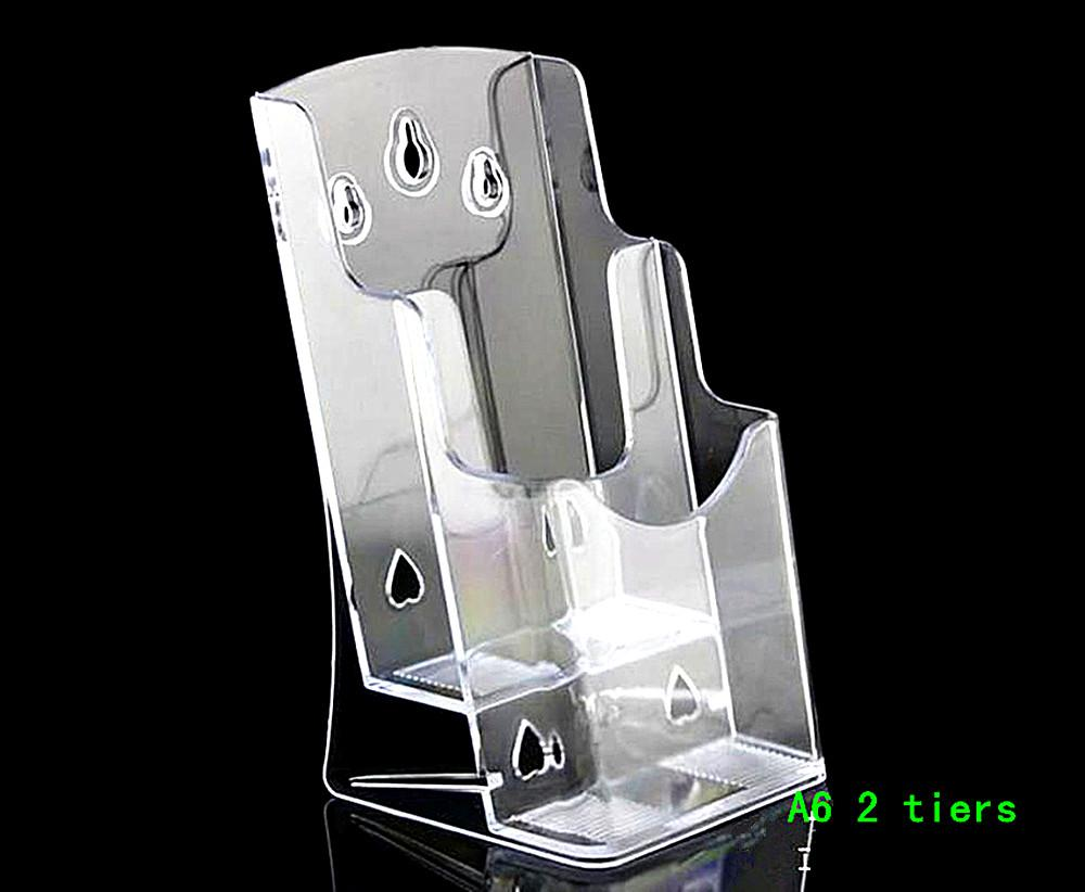 Clear A6 Two Tiers Pamphlet Brochure Literature Plastic Display Holder Stand To Insert Leaflet Desktop Plastic Brochure Holder Pamphlet Holder Literature
