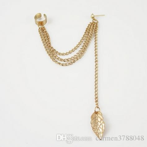 Women clip earring Punk Rock tassel leaves chain dangle ear cuff metallic wrap earring