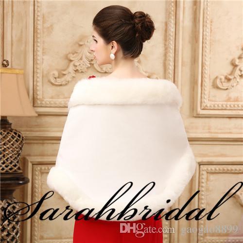 New Faux Fur Bridal Shrug Wrap Cape Stole Shawl Bolero Jacket Coat Perfect For Winter Wedding Bride Bridesmaid Real Image 2019