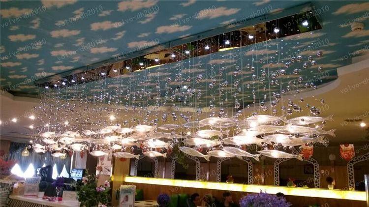 현대 유리 비행 물고기 천장 조명 떼 물고기 샹들리에 거실 빛 크리스탈 코냑 컬러 물고기 천장 램프 LLFA21