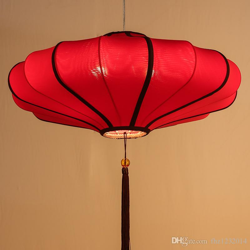 Chinese Cloth Art Chandelier Modern Creative Restaurant Hotel Tea House Terrace Style Antique Red Lantern Bedroom Hanging Lights Ceiling