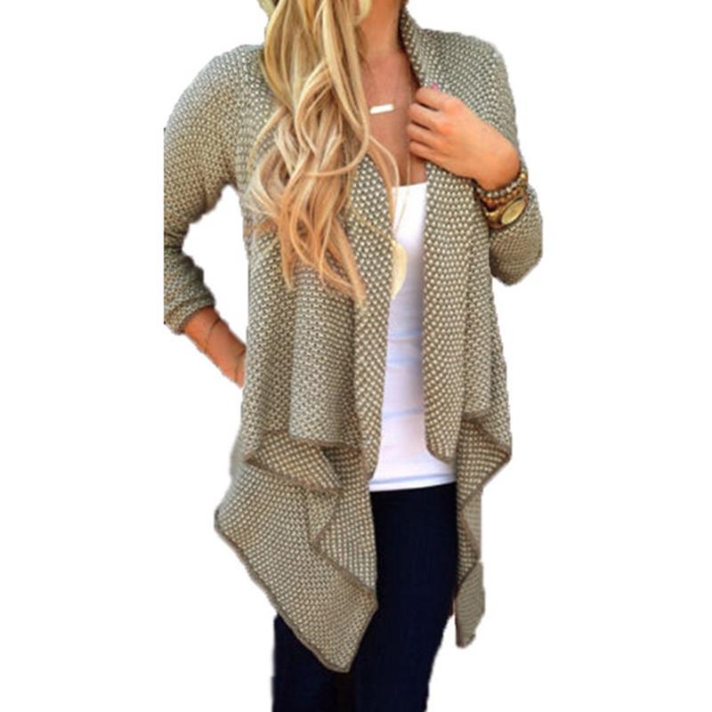 2015 New Autumn Winter Fashion Women Loose Knit Waterfall Cardigan ...