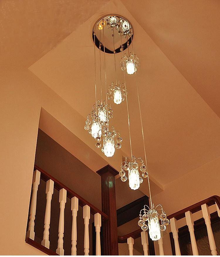 Modern k9 crystal staircase lights chandelier crystal lamp double modern k9 crystal staircase lights chandelier crystal lamp double spiral staircase chandelier minimalist villa k9 crystal chandeliers table chandelier ball aloadofball Image collections