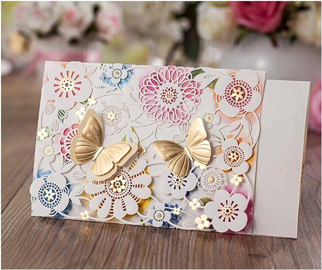 Elegant Unique Wedding Invitations Cards Colorful Hollow Butterfly – Elegant Butterfly Wedding Invitations