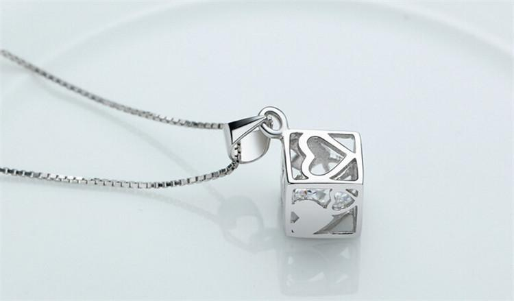 Hot Sale 925 Sterling Silver Love Cube Shape Crystal Heart Necklace Pendant For Women Jewelry Valentines Gift