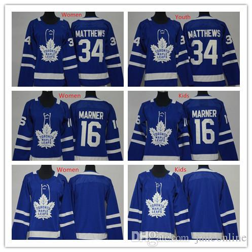 aaff0f0ce 2018 Kids Womens Toronto Maple Leafs Jersey Blue Youth 34 Auston 16 ...