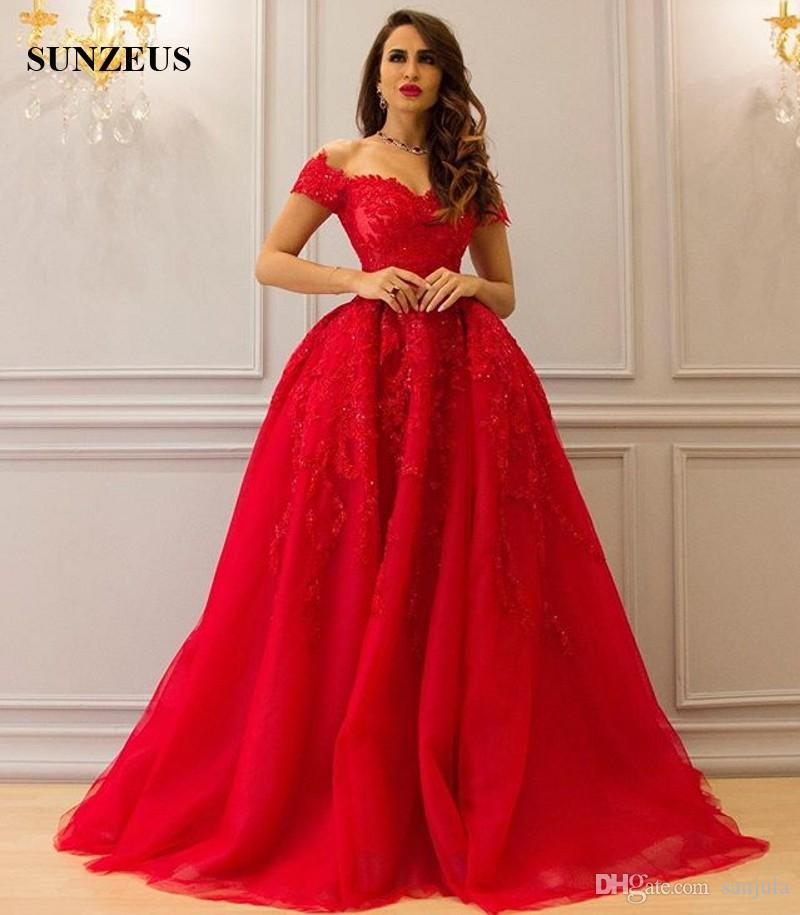 Luxury Sparkle Sequins Beaded Long Red Evening Dresses With Appliques Sweetheart Off Shoulder Short Sleeve Formal Gowns Party Wear vestidos