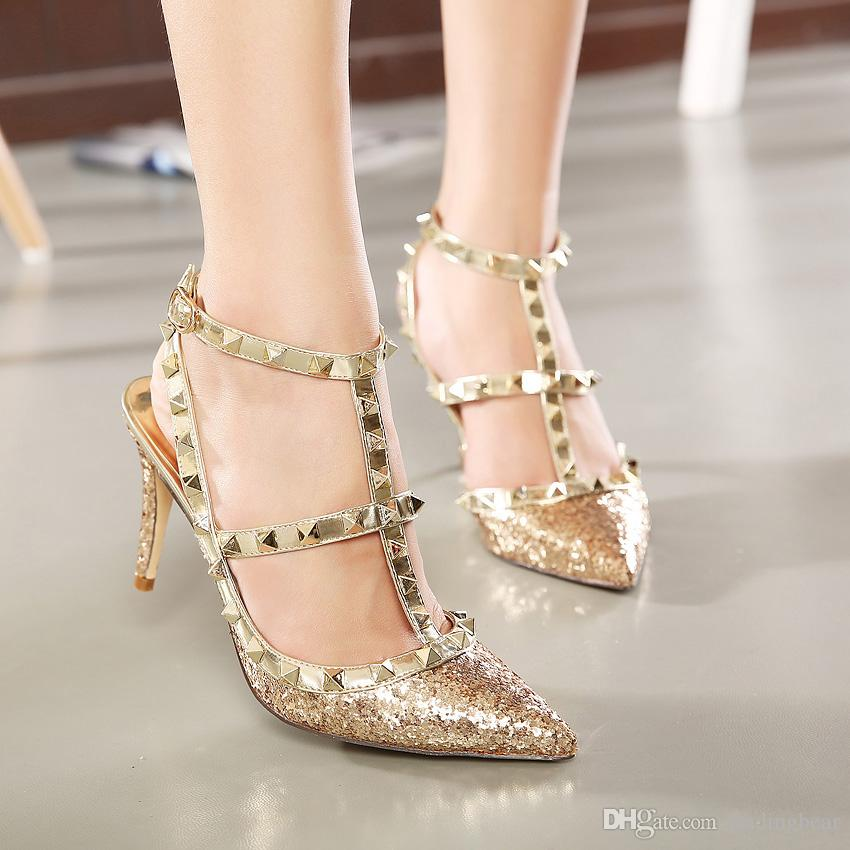 Glitter Sequined T Strap Rivets Shoes Women Sexy High Heels ...