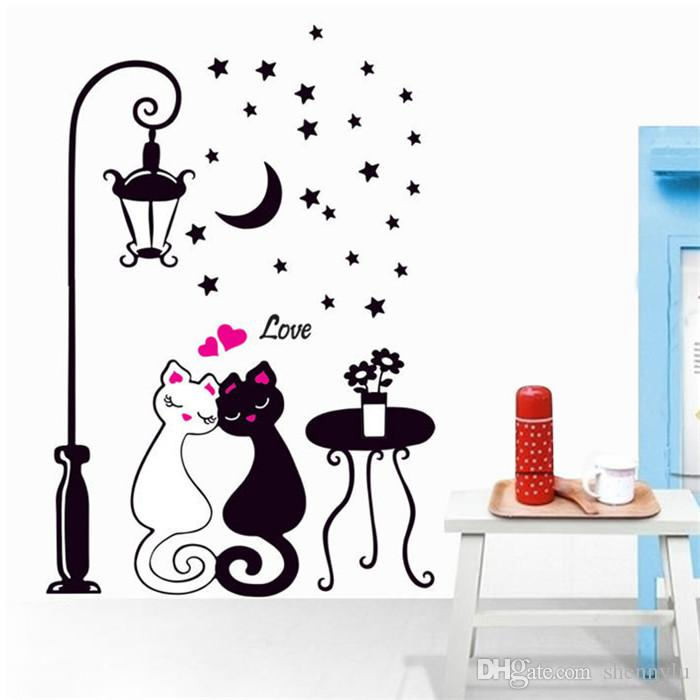 Cat Wall Sticker For Kids Room Lamp Butterflies Stickers Decor Decals Removable Cartoon lovely Birthday Wedding Christmas Party Decoration