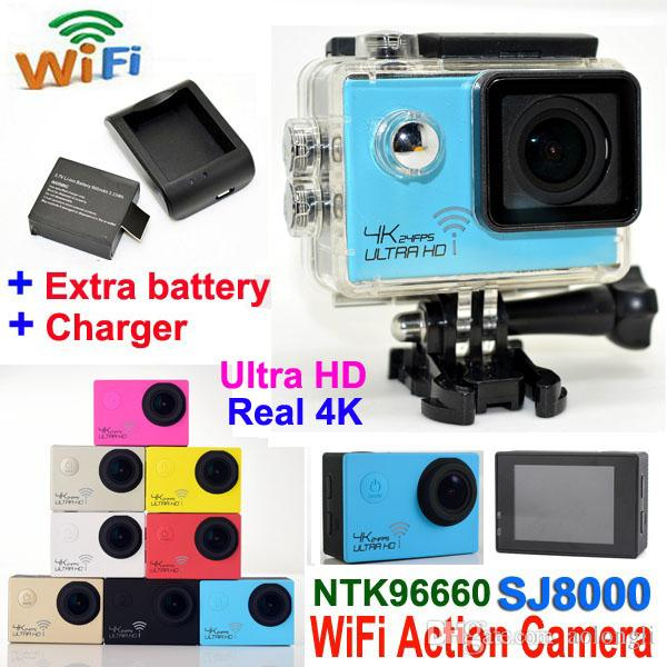 Ultra HD 4K Waterproof Camera 24fps SJ8000 WiFi Sport Action Camera 1080P/60fps 2.0 LCD 170D Lens Helmet Cam mini Camcorder DVR