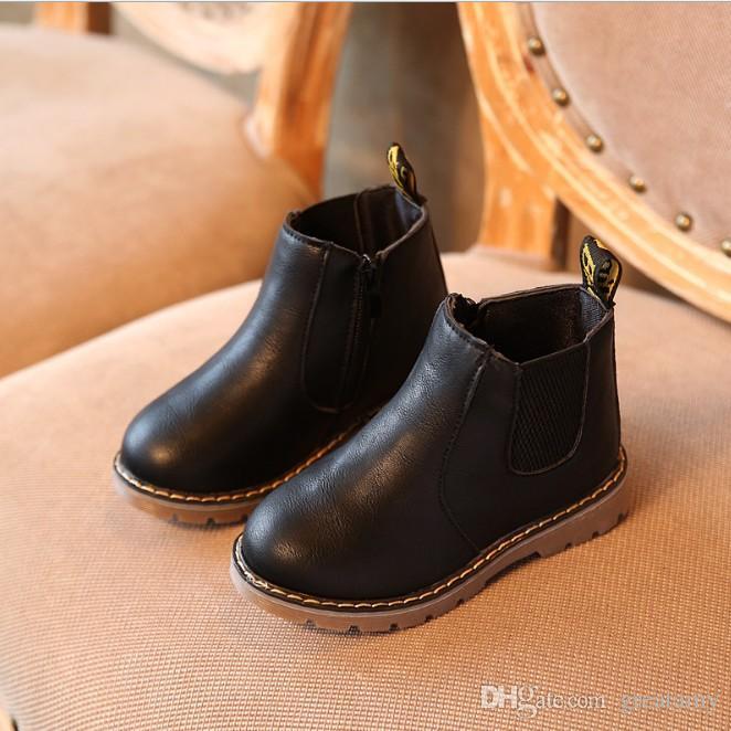 Enfants Automne Bébé Chaussures Pour Enfants Bottes Habillées En Cuir PU Filles garçons Mode Martin Bottes bébé Bottes En Cuir De Microfibre