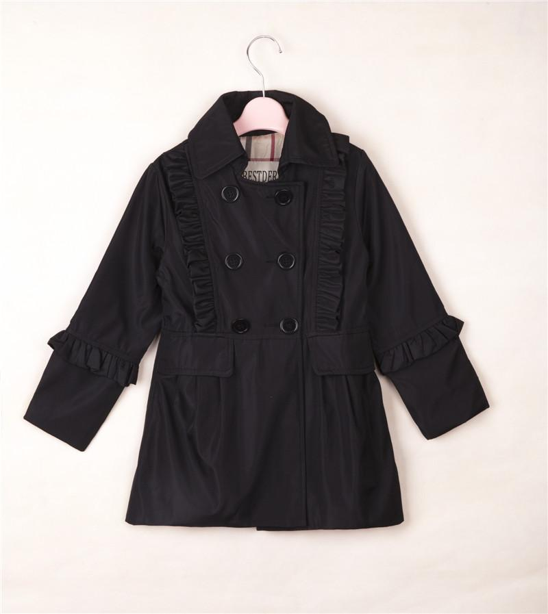 Girl Coat Falbala Pleated Girls Black Windbreaker Classical ...