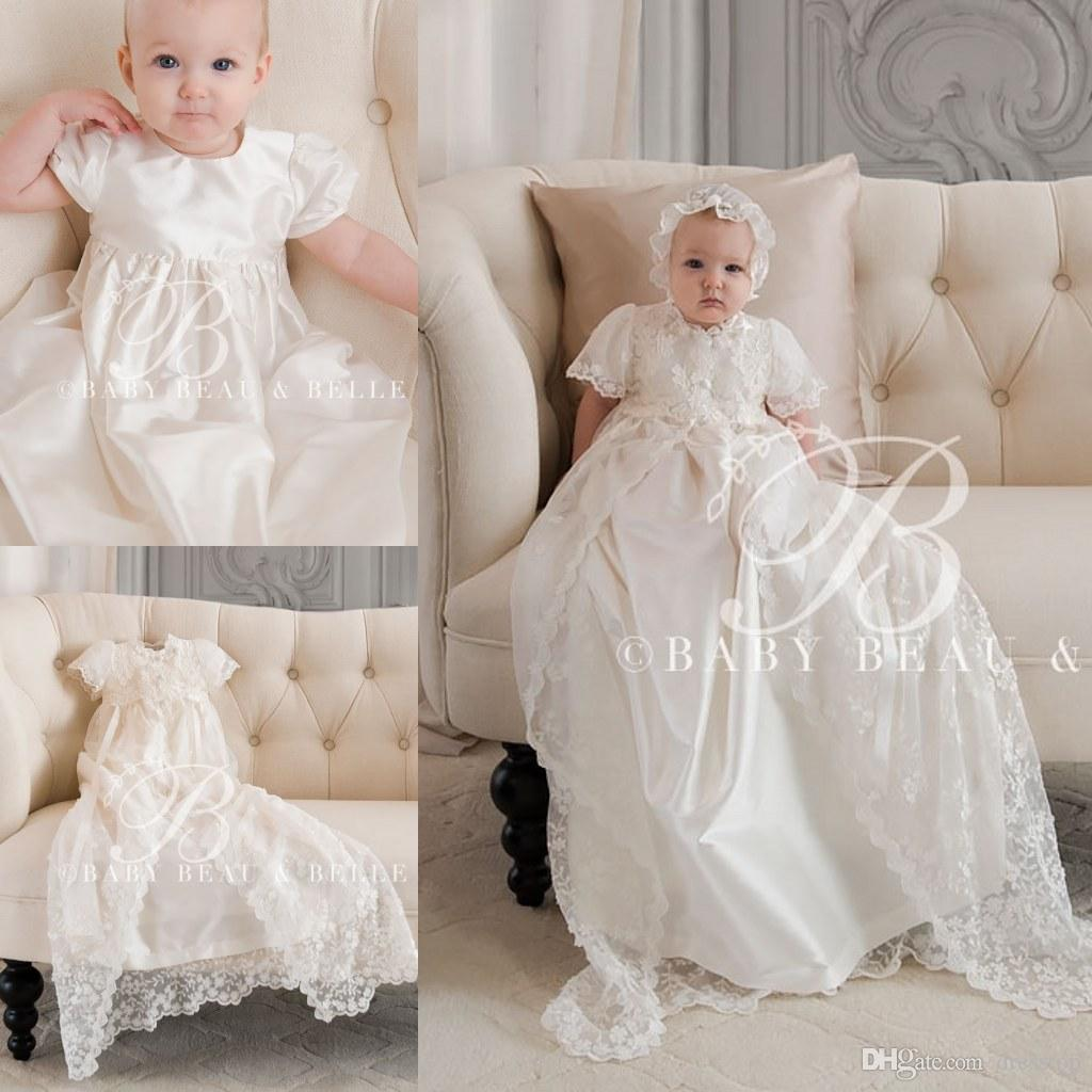 2018 Lovely Lace Christening Gowns With Short Sleeves For Baby Girls ...