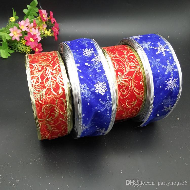 2018 new hot sale Christmas decorations festive supplies bow ribbons printing ribbons blue snowflakes red printing