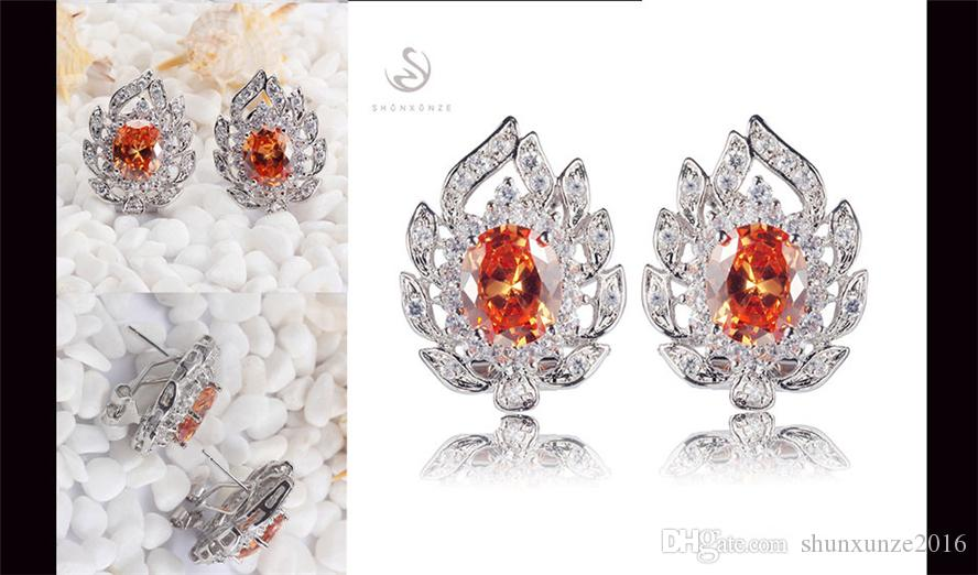 Vintage Best Sellers Favourite Brand New Christmas gift MN680 Wholesale Orange Cubic Zirconia Shinning Copper Rhodium Plated Charm Earrings