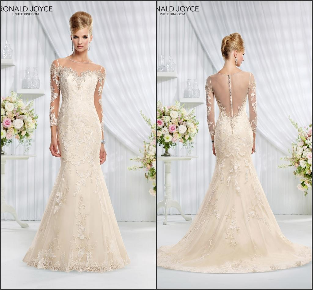 Ronald Joyce Bridal Lace Over Satin Wedding Dress With Sheer Long Sleeves Back Illusion Neck Line Mermaid Gown For Modern