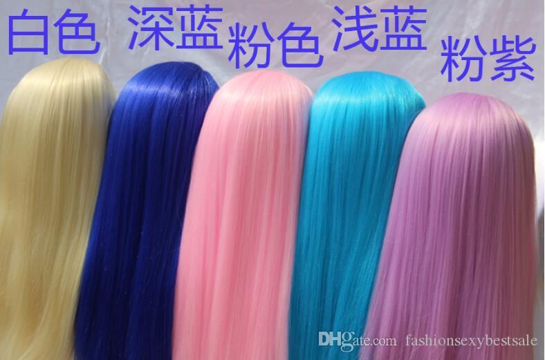 Venta al por mayor 7colour colorido cabello femenino REGALO mujer modelo maniquíes cabeza peluquería cabeza, maquillada con base de plástico, M00670